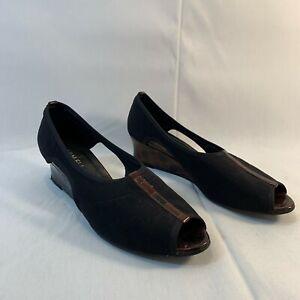 Vaneli Womens Black Leather Open Toe Slip On Comfort Pump Wedge Heels Size 9 M