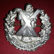 Queens Own Cameron Highlanders Army Regiment Cap Badge With Pin