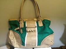 Green White Beige Patent Leather Look London Fog Purse Handbag Medium Tassle