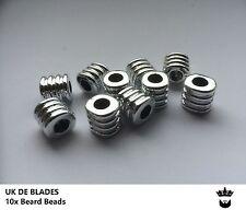 10 silver acrylic beard beads UK DE BLADES *( oil wax gift balm Birthday mens A9