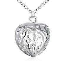 925 Argento PLT Filigrana Hollow collana con ciondolo amore cuore pesante grande fascino di una