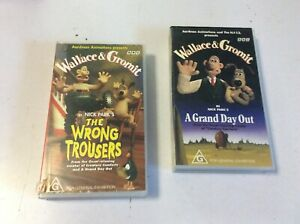VHS MOVIES X 2 WALLACE AND GROMIT WRONG TROUSERS A GRAND DAY OUT