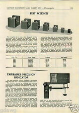 1943 PAPER AD Fairbanks Scale Test Weights Morse Lighting Plant Engine Generator