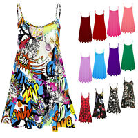 New Women's Camisole Cami Flared Skater Strappy Vest Top Swing Dress 8-26