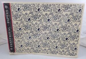 Vintage PennyRoyal Papers Gift Wrap Wrapping Paper Blue Pheasants 8 Sheets 1982