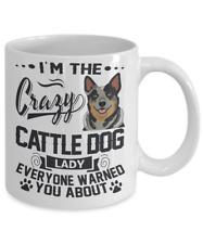 Crazy Cattle Dog Lady Mug, Australian Cattle Dog White Coffee Mug, Blue Heerler