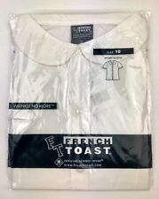 New French Toast Girls Short Sleeve Modern Peter Pan Blouse White Size 10