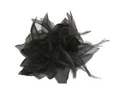 Fleur en tissus noire N°8, accessoire de mariage