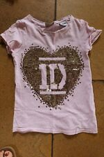 Next One Direction pink sequin t-shirt age 7 silver sequins