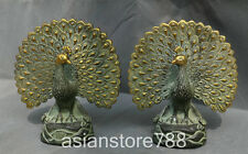 "7"" China Dynasty Bronze Gilt Fengshui Peacock Birds Peafowl Phoenix Pair Statue"