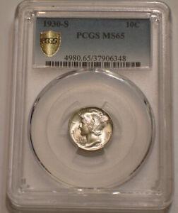 1930 S Mercury Dime PCGS MS 65 intense Sparkling LUSTER Secure Shield Holder
