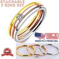 Women's Cubic Zirconia Engagement Ring, Tri-Color Stackable 3 Ring Set