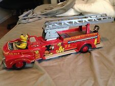 Vintage Walt Disney Tin Litho Linemar Friction Fire Truck Disneyland Volunteers