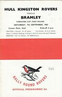 Hull Kingston Rovers v Bramley 1963/4 (7 Sep) Yorkshire Cup R1