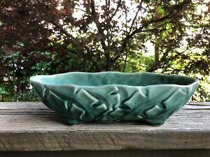 Brush McCoy 809 Vintage Pottery Planter Green Oval