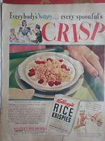 1940 Kelloggs Cereal Rice Krispies Berries Spoonful Crisp Original Print Ad