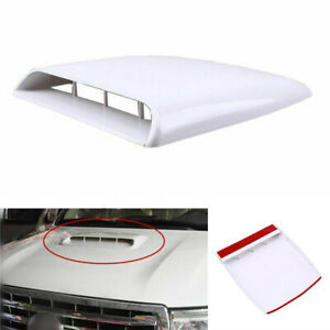 Universal Car Truck Air Flow Intake Hood Scoop Vent Bonnet White Decor Cover