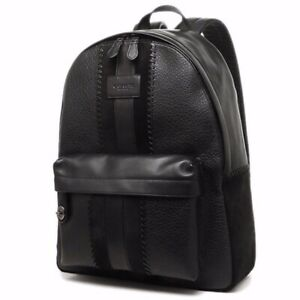 NWT Coach Backpack Embossed Genuine Buffalo Leather Suede Black ONE OF A KIND