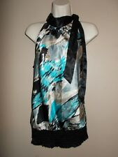 Heart & Soul Womens Size L Silky Smooth Geometric Shell Ties at Mock Neckline