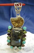 925 STERLING SILVER BROWN AMMONITE FOSSIL MULTI COLORED GEMS HEAVY LARGE PENDANT