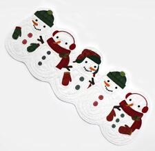 """NWT White Red Green Quilted Snowman Winter Holiday Table Runner 36"""" Length"""