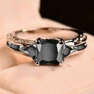 925 Silver Rings Jewelry Black Sapphire Elegant Women Wedding Ring Gift Size6-11