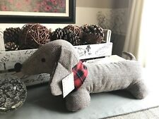 New Herringbone Fabric Large Dachshund Weiner Dog Door Stop w/ Weighted Feet