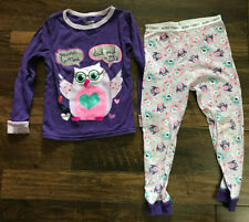 Garanimals Purple Toddler Girl's 4T PJs Pajamas Two Piece Long Sleeve Owls