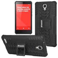 AMZER Black Rugged Dual Layer Hybrid Warrior Case For Xiaomi Redmi Note /Note 4G