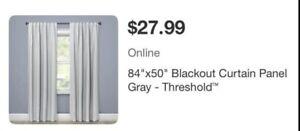 "2 Threshold 84"" x 50"" inch Gray/White Blackout Curtain"
