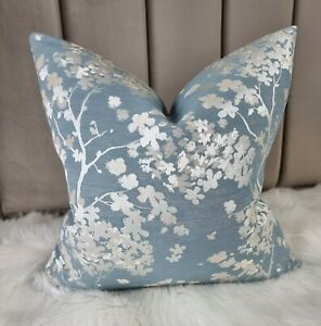 Floral ELIZA Cushion Cover John Lewis & Partners Fabric Blue Silver