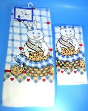 NEW 2000 Pillsbury Doughboy Cookie Towel & Dish Cloth Set -Poppin Fresh Bake Off