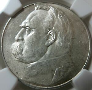POLAND 5 zlotych 1936 NGC MS 61 UNC Pilsudski Silver