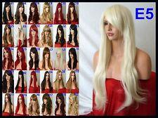 Pale Bleach Blonde Wig Women Long Straight Halloween Ladies Full Hair Wigs E5
