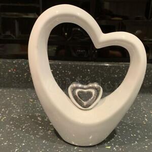 White Romantic Double Love Heart Sculpture standing Centerpiece Decor Ornament