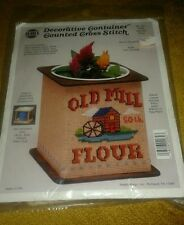 NeedleMagic, Inc Counted Cross Stitch Kit OLD MILL FLOUR  Decorative Container