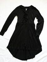 new NEXT BNWT Ladies black jersey stretch knee tunic dress bow detail size 10/12