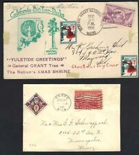 US 1921 OSSEO MINN CHRISTMAS COVER AND CALIFORNIA GRANT NATIONAL PARK CANCELLED