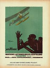 Original vintage poster print GERMAN WWl AVIATION BLACKS 1918 Engelhard