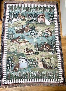 "Goodwin Weavers Bunny Rabbit Throw Tapestry Blanket 45""x 72"" Crown Craft Picket"