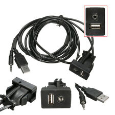 In-Car 3.5mm AUX USB Socket Headphone Male Jack Adapter 1m Extension Cable Kit
