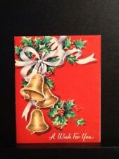 VTG CHRISTMAS GREETING CARD RED W/RIBBONS HOLLY BELLS