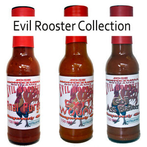 Gourmet Evil Rooster Series  Chilli Hot Sauces - 3x 150ml Carolina Reaper Ghost