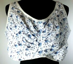 """""""50G"""" *Comfort Choice 27-0655-4* White Floral Cotton Unlined Wire Free Full Bra"""