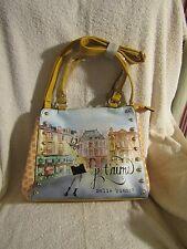 "Melie Bianco Mustard Multicolor ""Angelica"" French Print Tote Shoulder Bag RARE"
