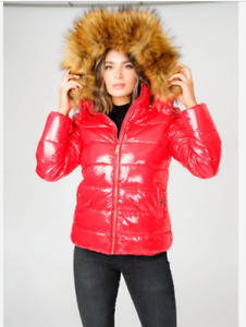 LADIES SHINY RED PUFFER JACKET WITH FAUX FUR TRIM