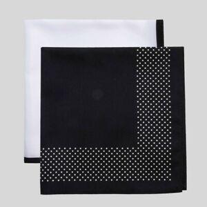 Goodfellow & Co Men's Misi Dots Pocket Square Set (Black/White, One Size)