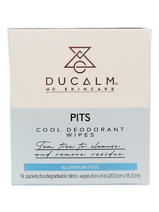 Cool Deodorant Wipes 14 Count by Ducalm MD Skincare - NEW Sealed