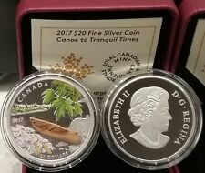 2017 Wood Canoe to Tranquil Times Canada $20 1OZ Pure Silver Proof Coloured Coin
