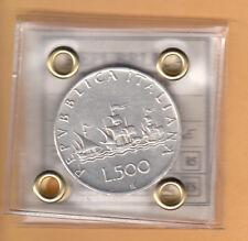 ITALIA LIRE 500 ARGENTO FDC CARAVELLE ANNO RARO 1961 SPLENDIDA / FIOR DI CONIO